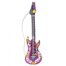Guitarra inchable Hippie.Complementos Disfraz