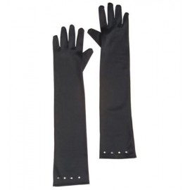Guantes Negros Raso con Strass Infantil