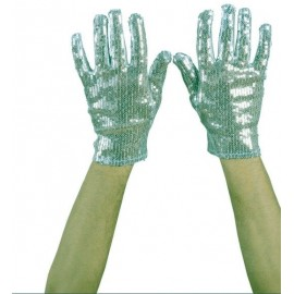 Guantes Lentejuelas Plata.Complementos Mujer